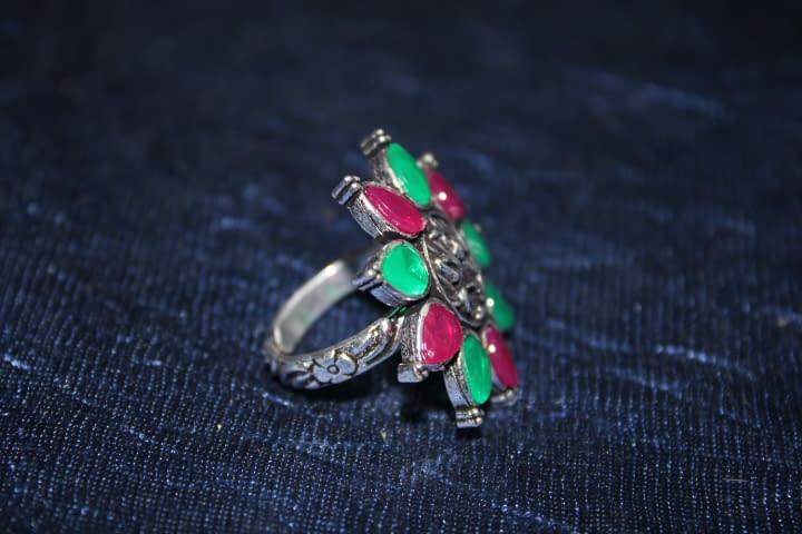 Handmade Stone Ring- Green & Pink 4
