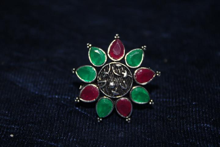 Handmade Stone Ring- Green & Pink 3