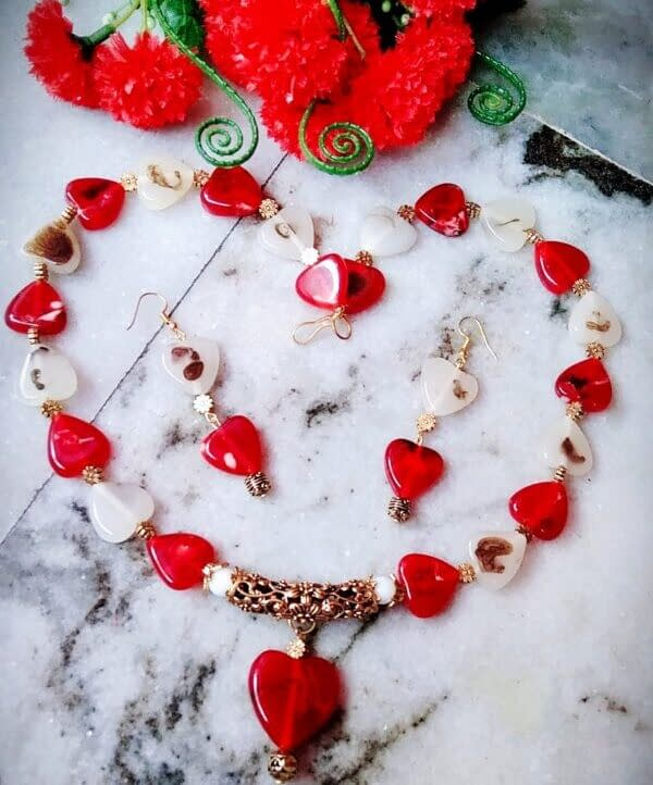 Handmade Red and white hearts 3