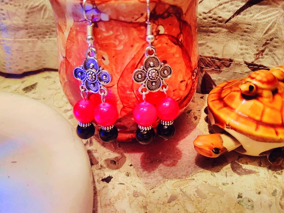 Handmade Red and black glass beads. 5