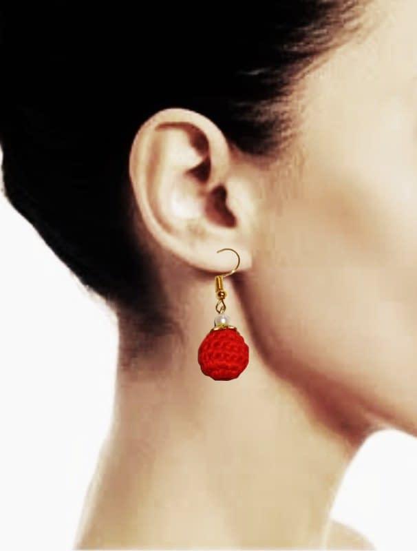 Handmade Red bead earrings 3