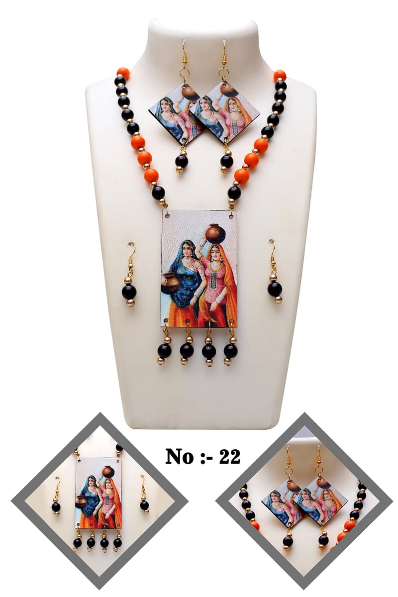 Handmade Wooden & Pearl Necklace 3
