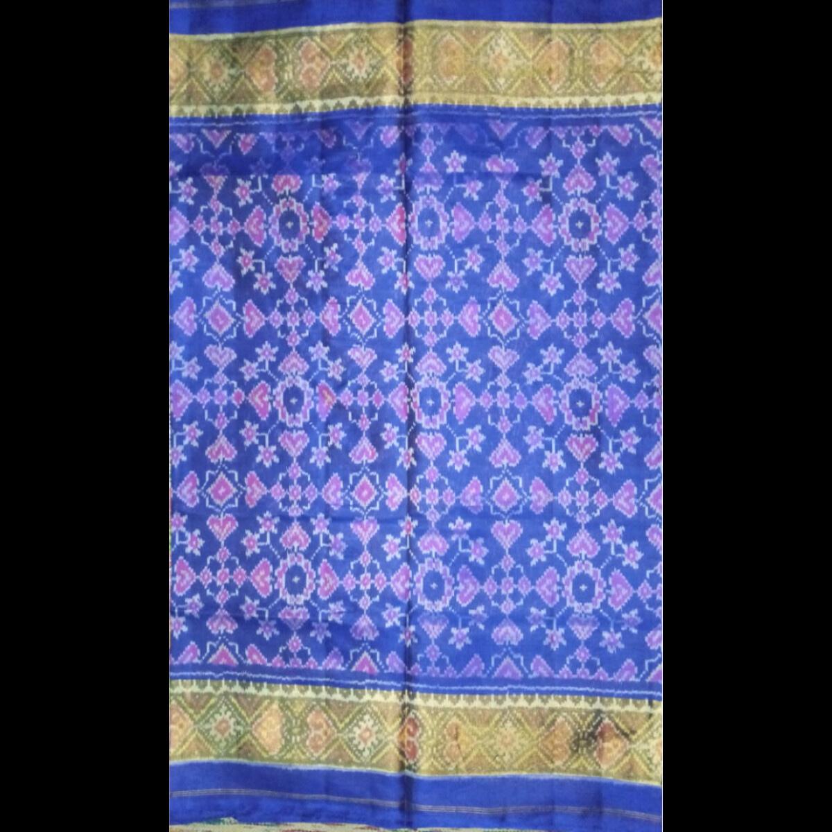 Handmade Blue – Handwoven Patan Patola Silk Saree 3