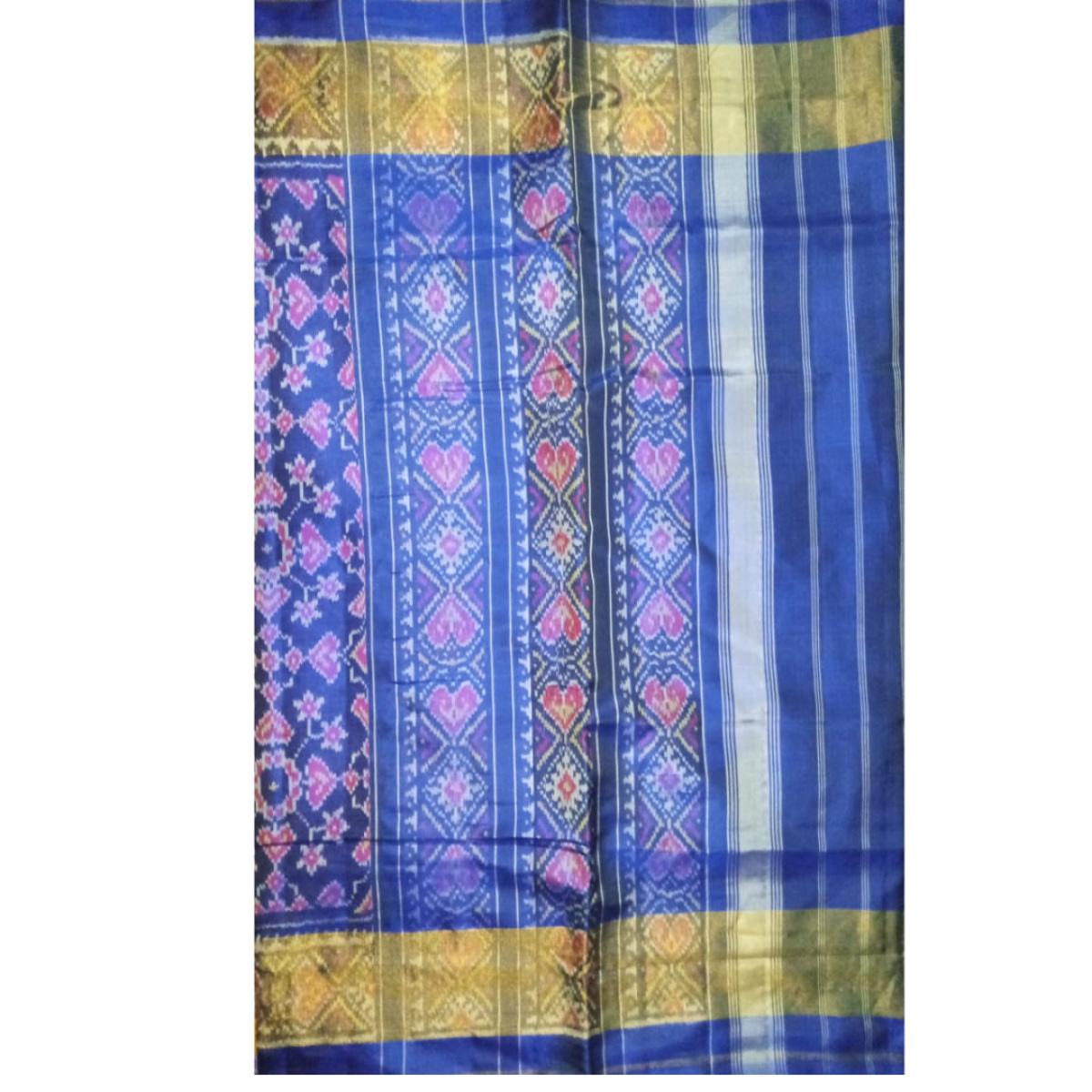 Handmade Handwoven Patan Patola Silk Saree blue with golden border 3