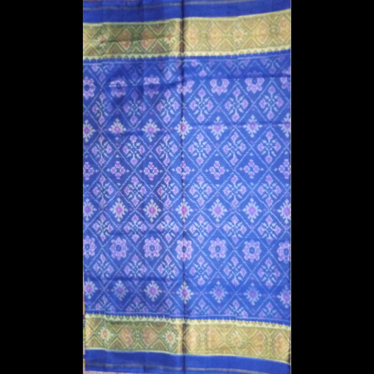 Handmade Blue & golden Patan Patola Silk Saree 3
