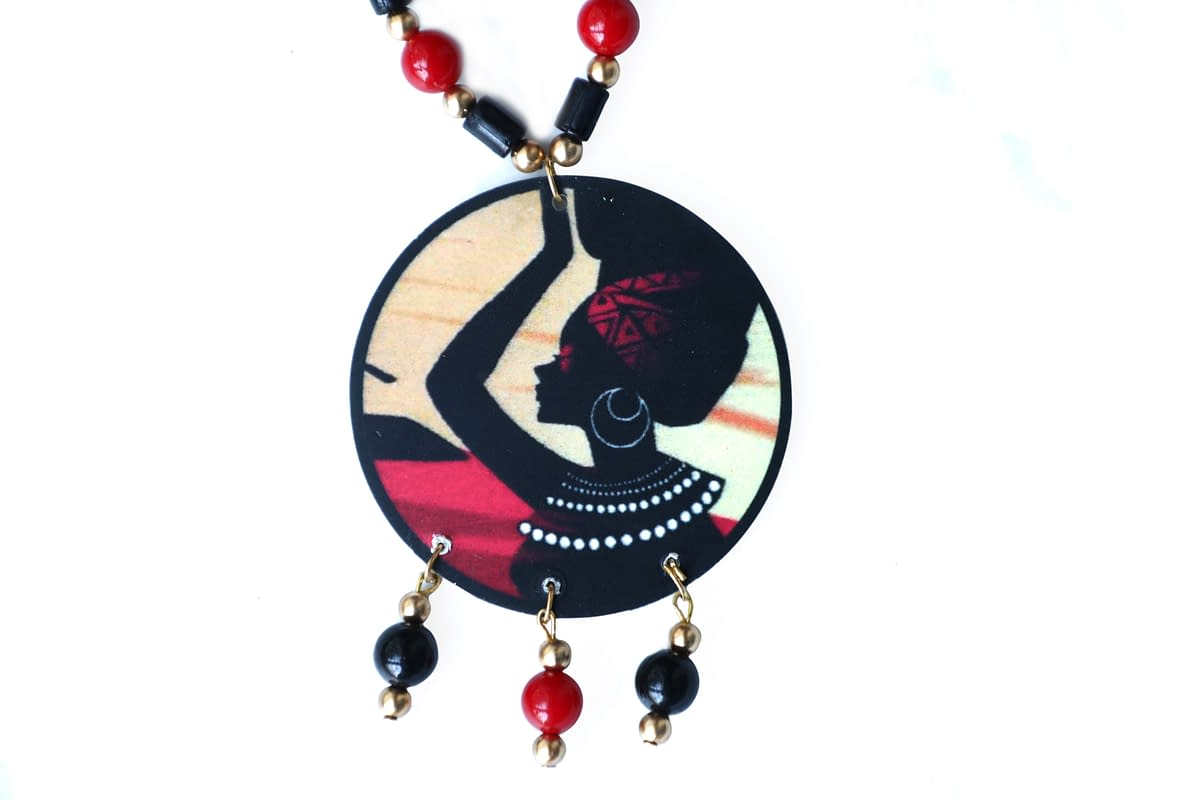 Handmade Wooden & Pearl Necklace 4