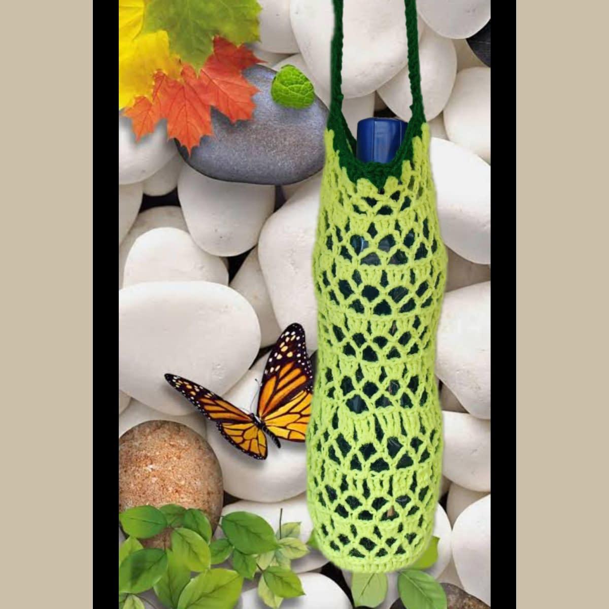Handmade Crochet water bottle bag 4