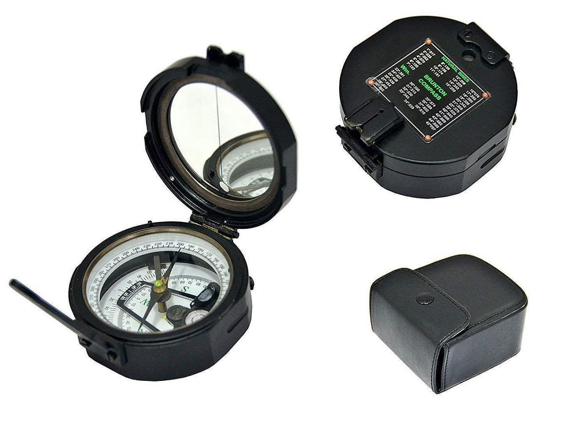 Handmade Brass Nautical Geological Brunton Compass (Black_) 3