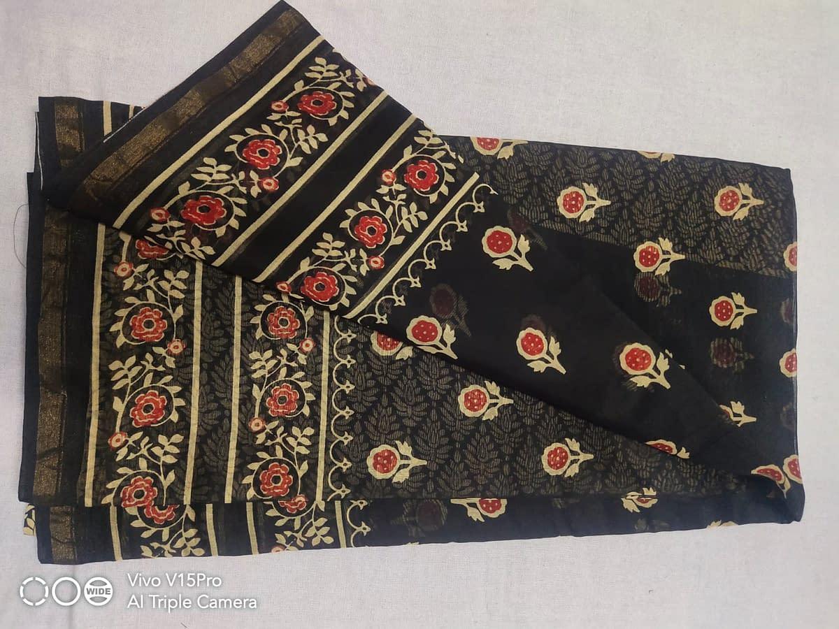 Handmade Chanderi Ajrak Printed Saree 3