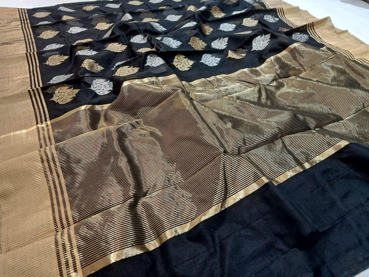 Handmade Chanderi Masrais Silk Saree 4