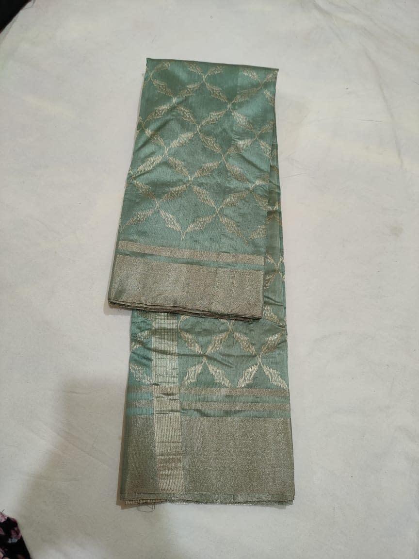 Handmade Chanderi Pure Katan Silk Jakat Border Saree 3