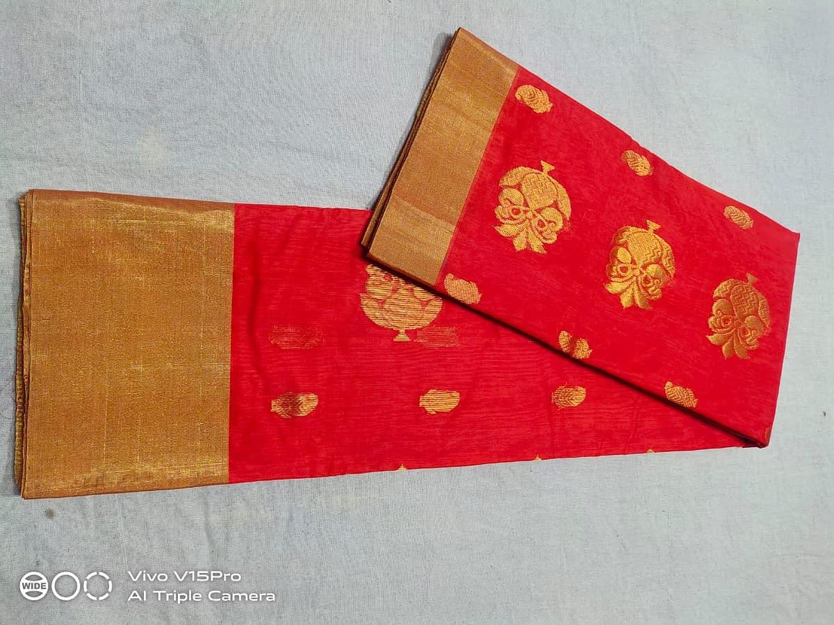 Handmade Chanderi Masrais Silk Saree 5