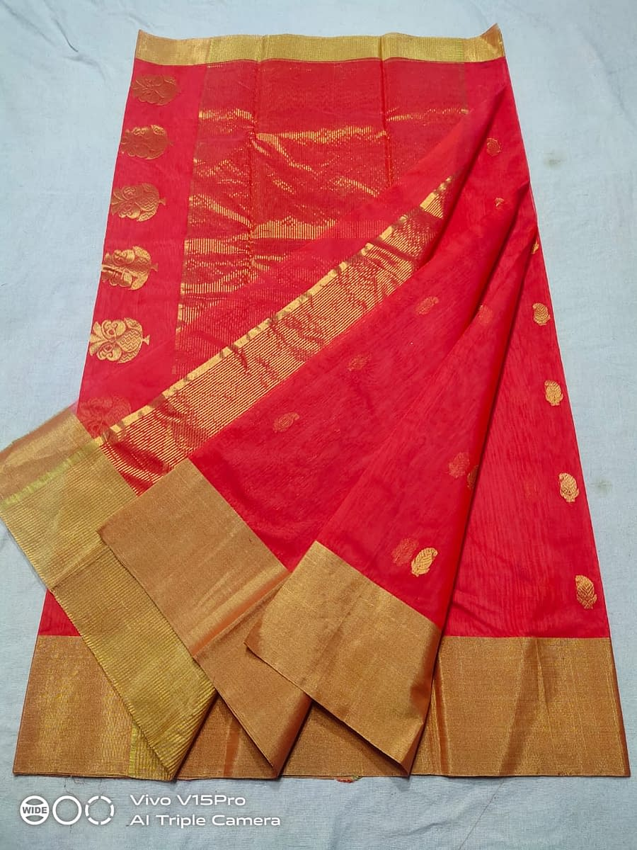 Handmade Chanderi Masrais Silk Saree 3
