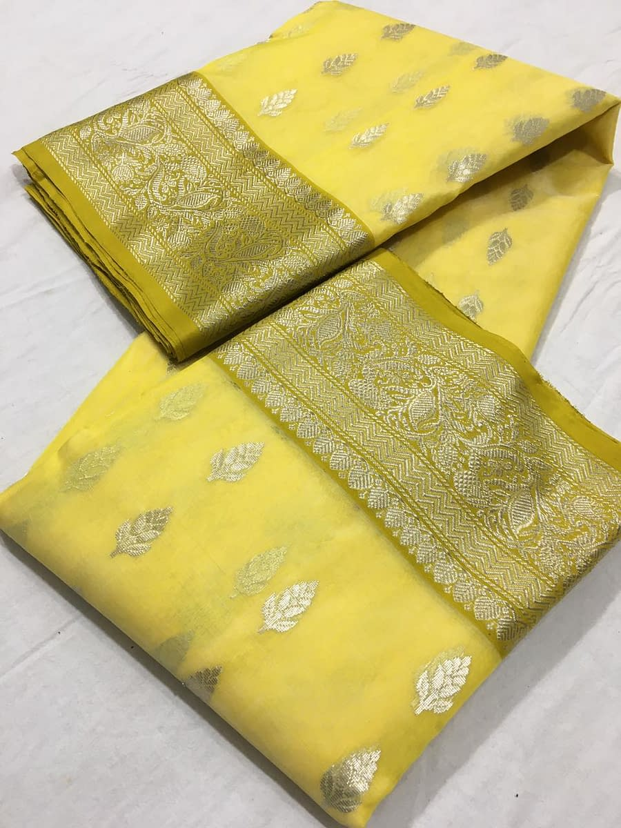 Handmade Chanderi Katan Silk with Ghani buti 5