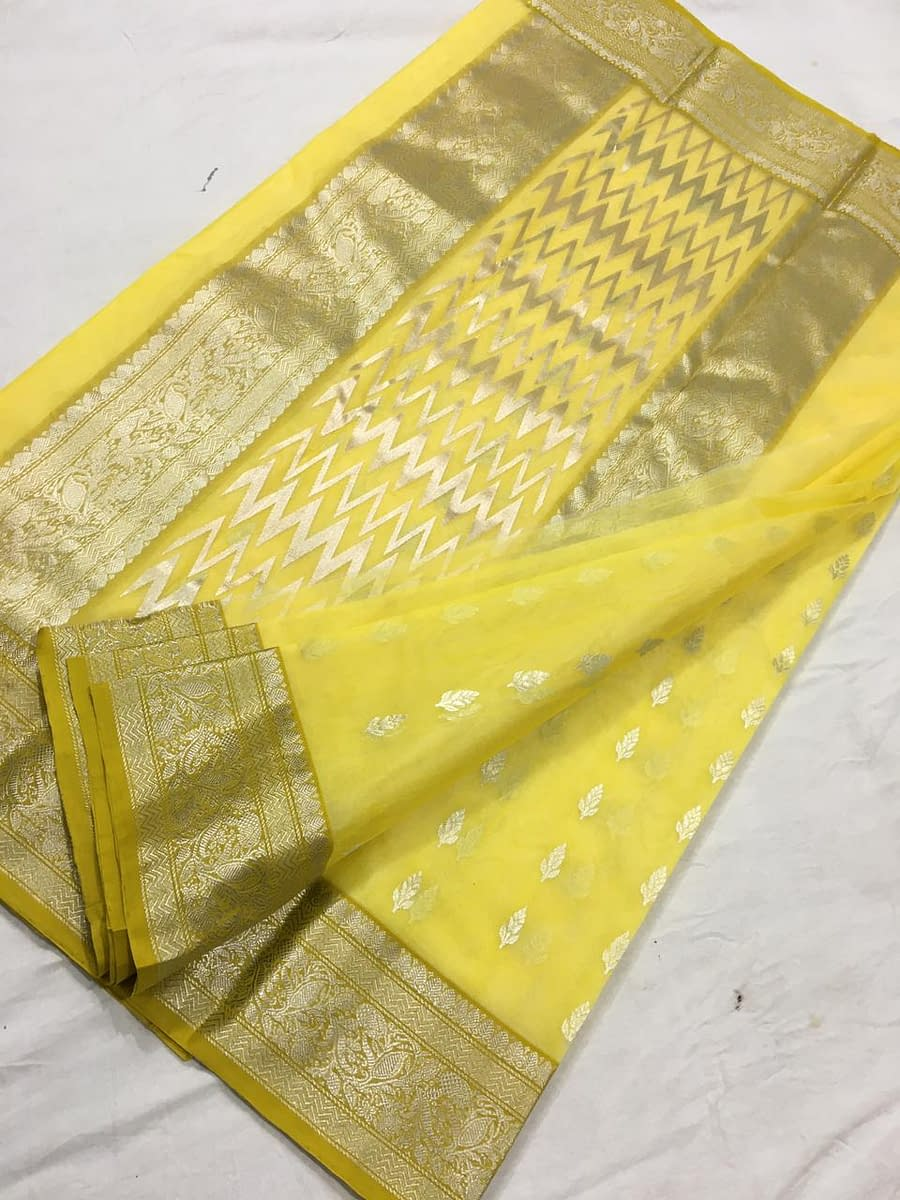 Handmade Chanderi Katan Silk with Ghani buti 4