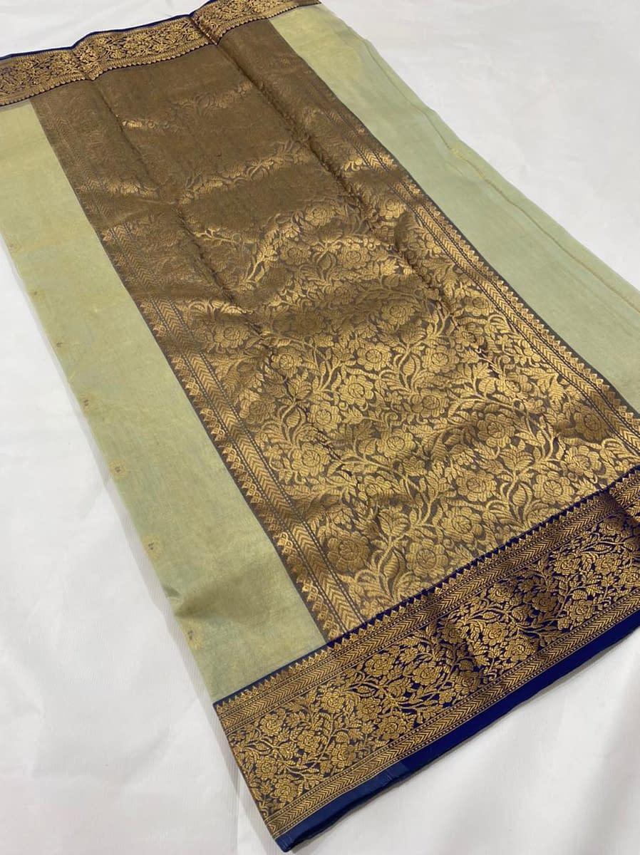 Handmade Kanjivaram Silk Saree Green Color 3