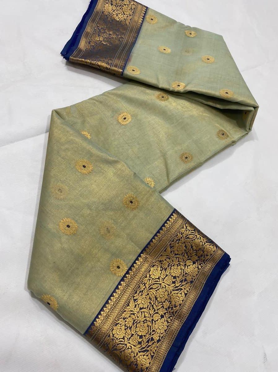 Handmade Kanjivaram Silk Saree Green Color 4