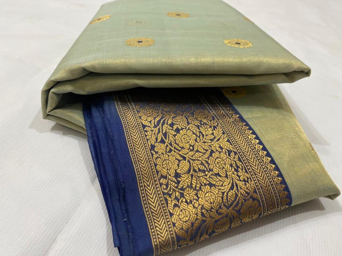 Handmade Kanjivaram Silk Saree Green Color 5