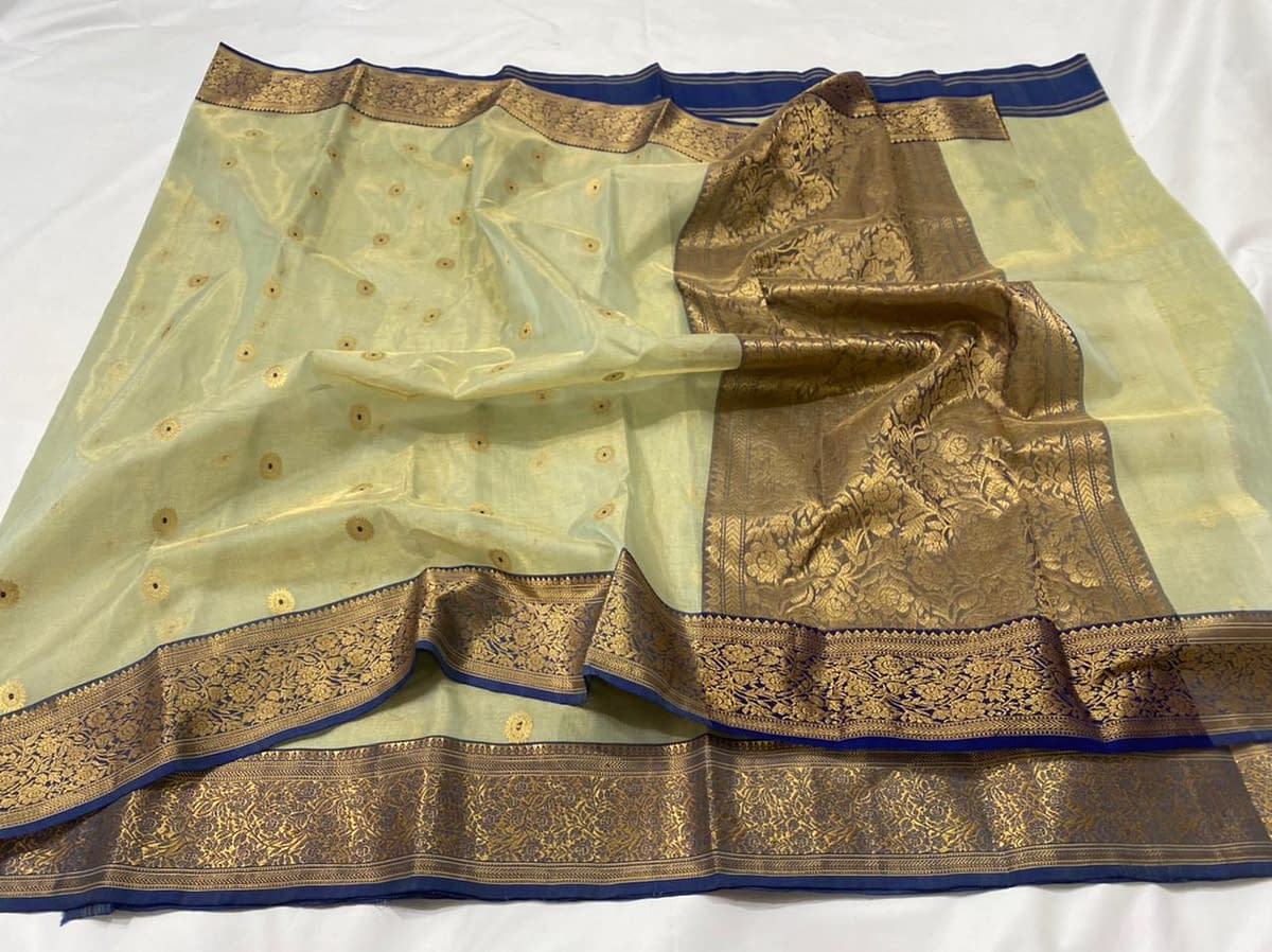 Handmade Kanjivaram Silk Saree Green Color 6