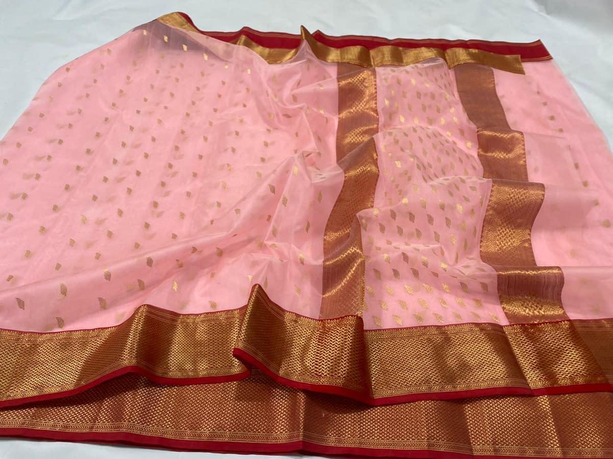 Handmade Kanjivaram Silk Saree Peach Color 4