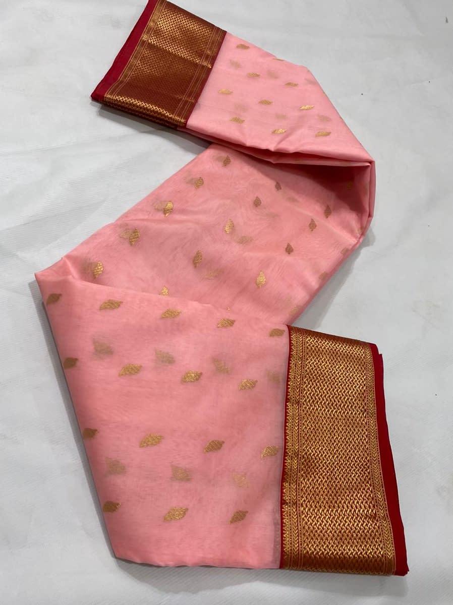 Handmade Kanjivaram Silk Saree Peach Color 5