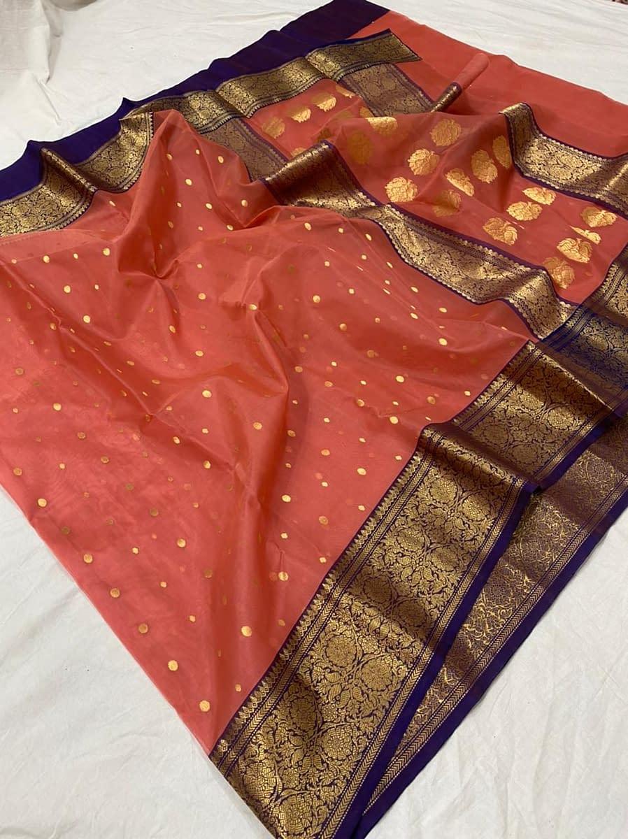 Handmade Chanderi Pure Katan Silk Nancy Border Saree 3