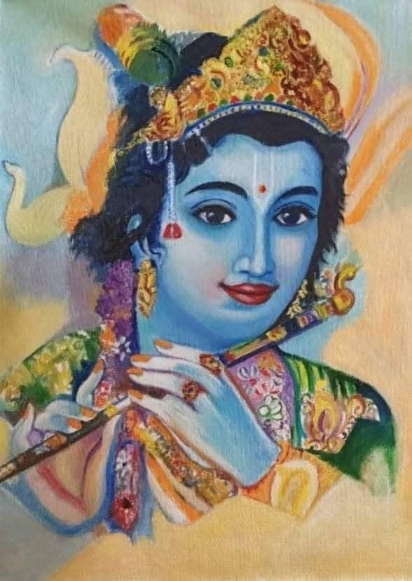 Handmade Murli Krishna painting 4
