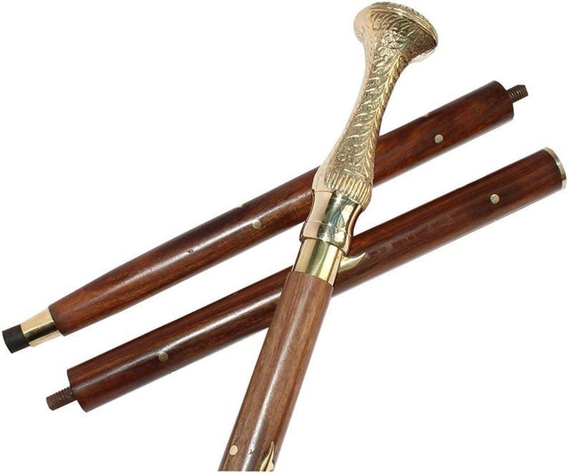 Handmade Antique vintage foldable solid brass wood Walking Cane Brass Handle Legend's Gentle Men's Women's Walking Stick 3