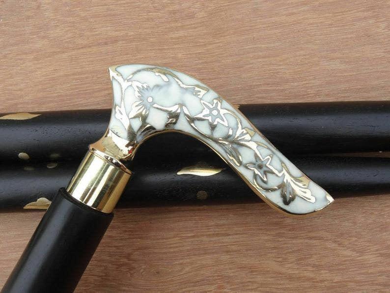 Handmade Designer Handmade White Flower Leaf Victorian Walking stick / cane Men women wands Walking cane Gift 3