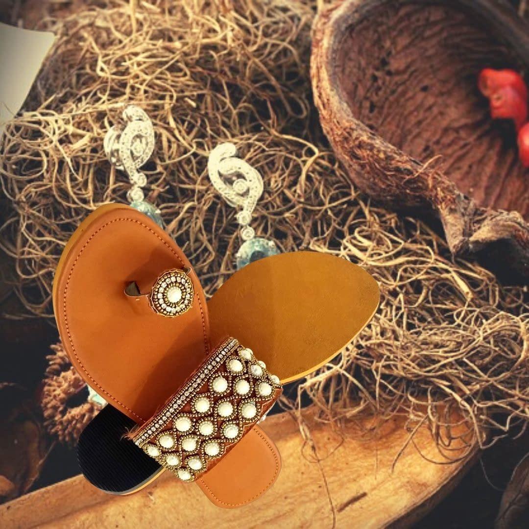 Handmade Handmade Ladies Chappal with Safed Moti work 3