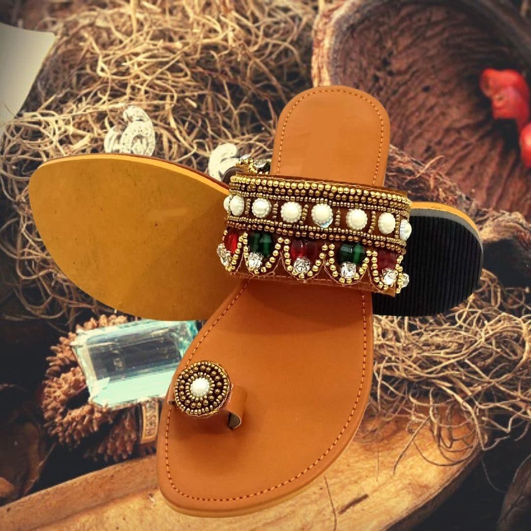 Handmade Handmade Ladies Chappal with Safed Moti hand work 3