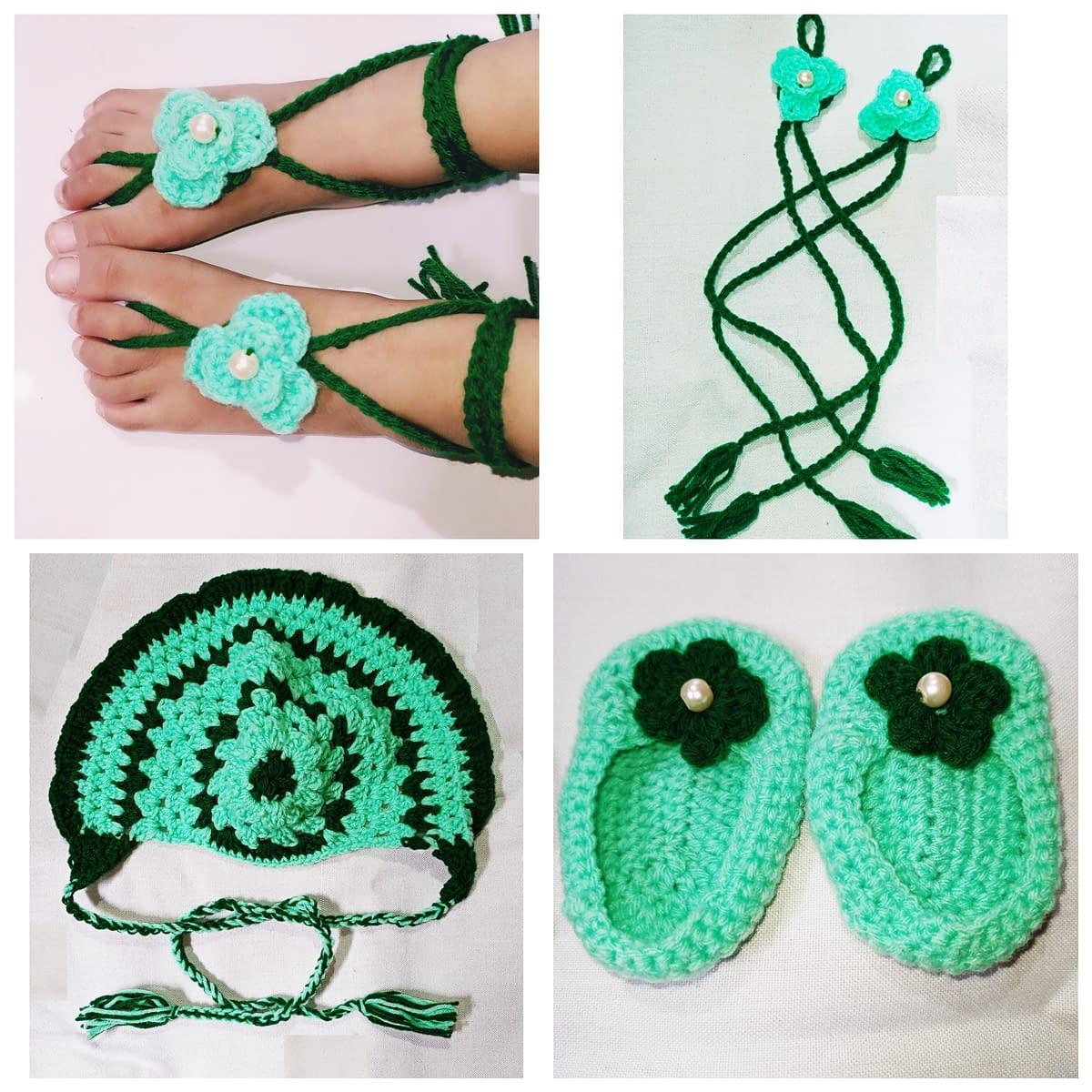 Handmade Crochet baby accessories combo set 3