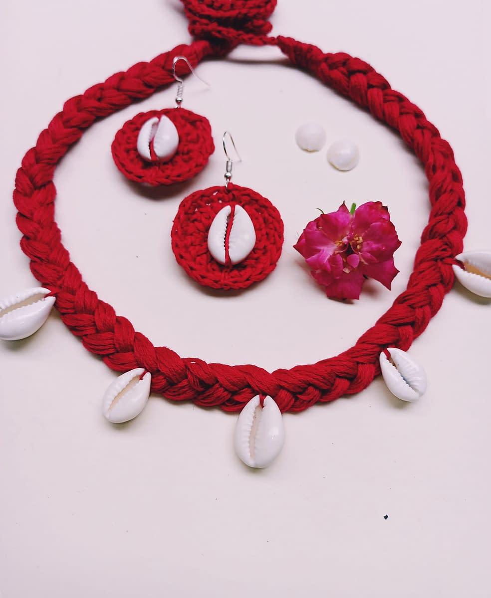 Handmade Crochet kawri juellary set 4