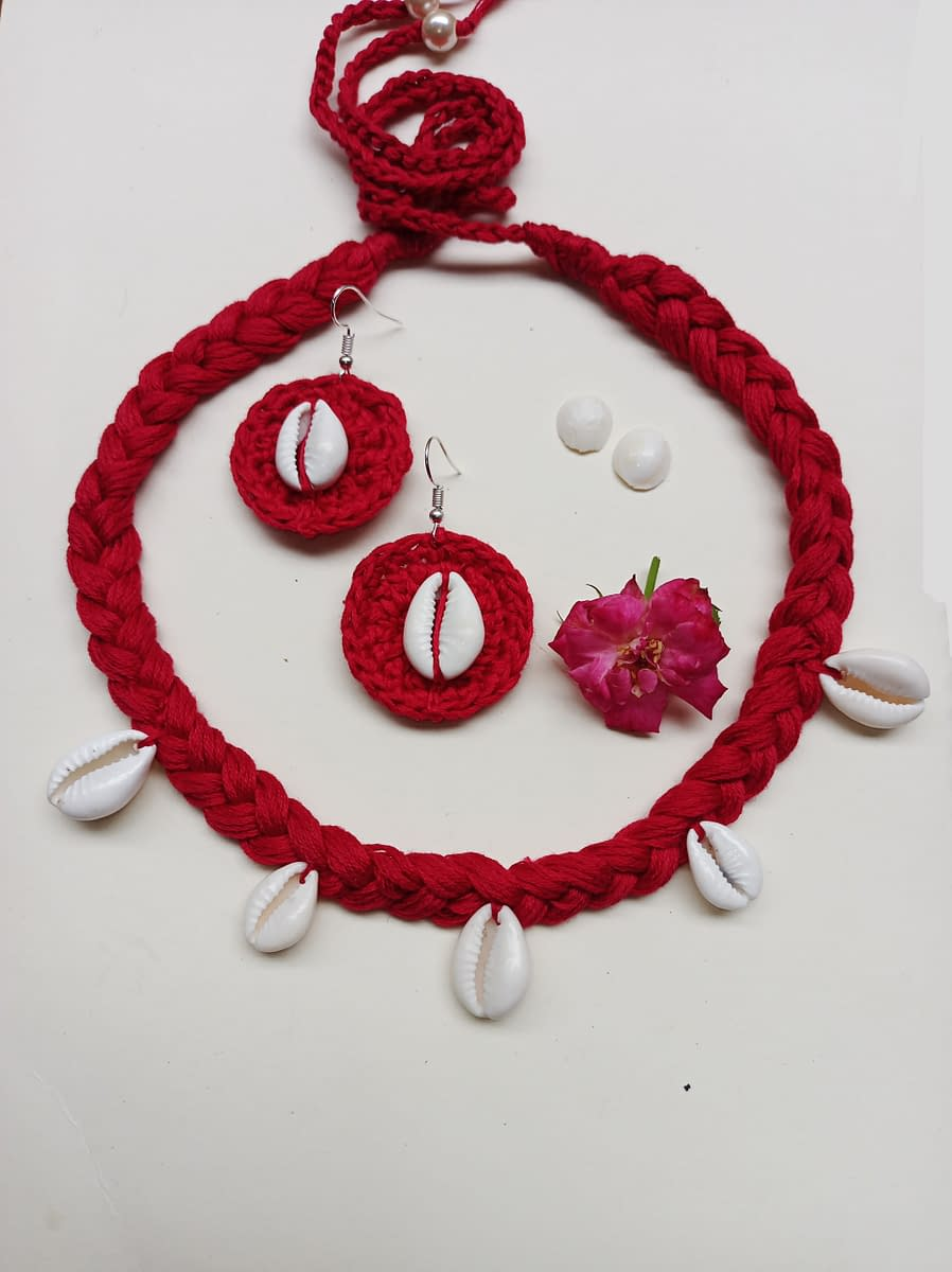 Handmade Crochet kawri juellary set 3