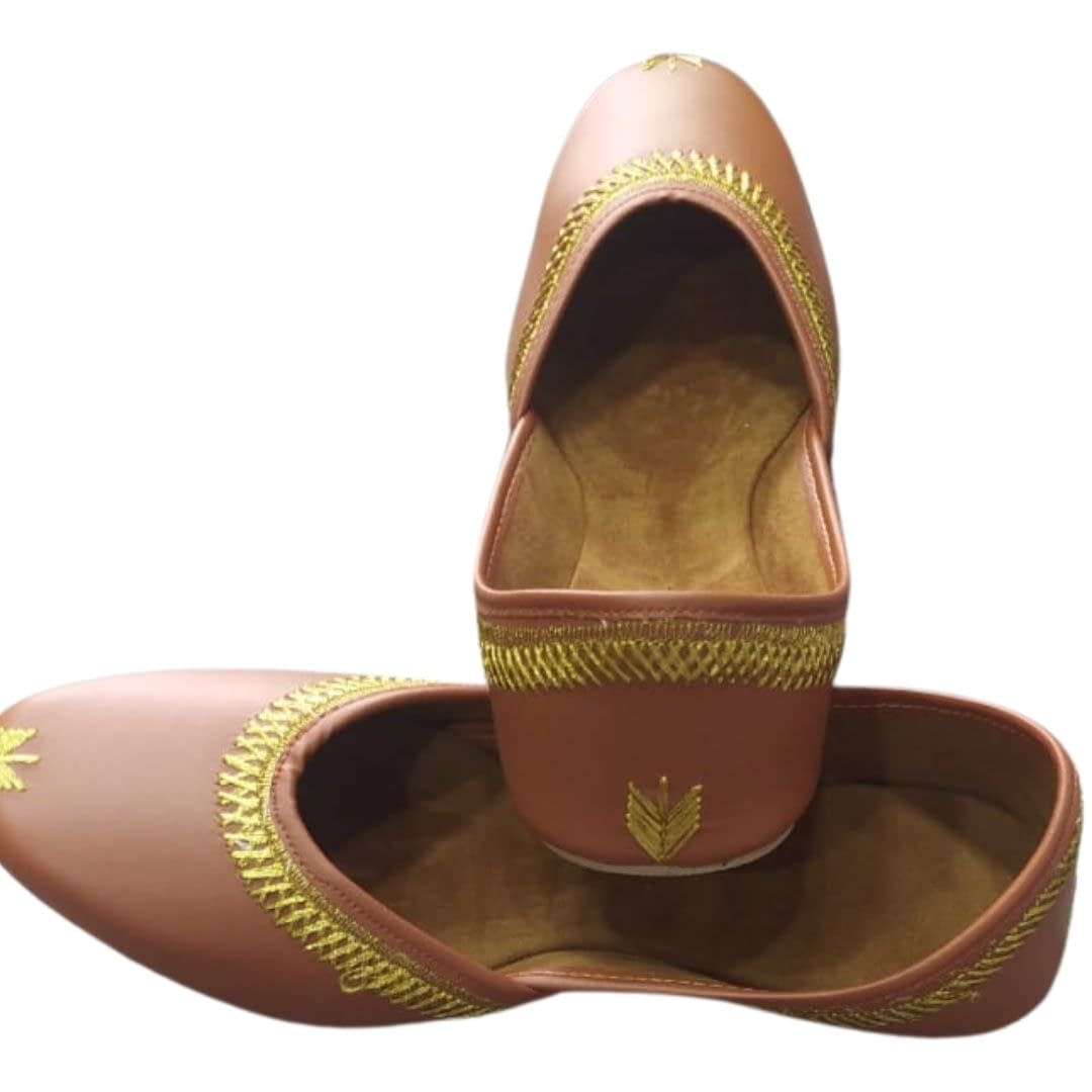 Handmade Comfortable Trendy Mojari light Brown 4