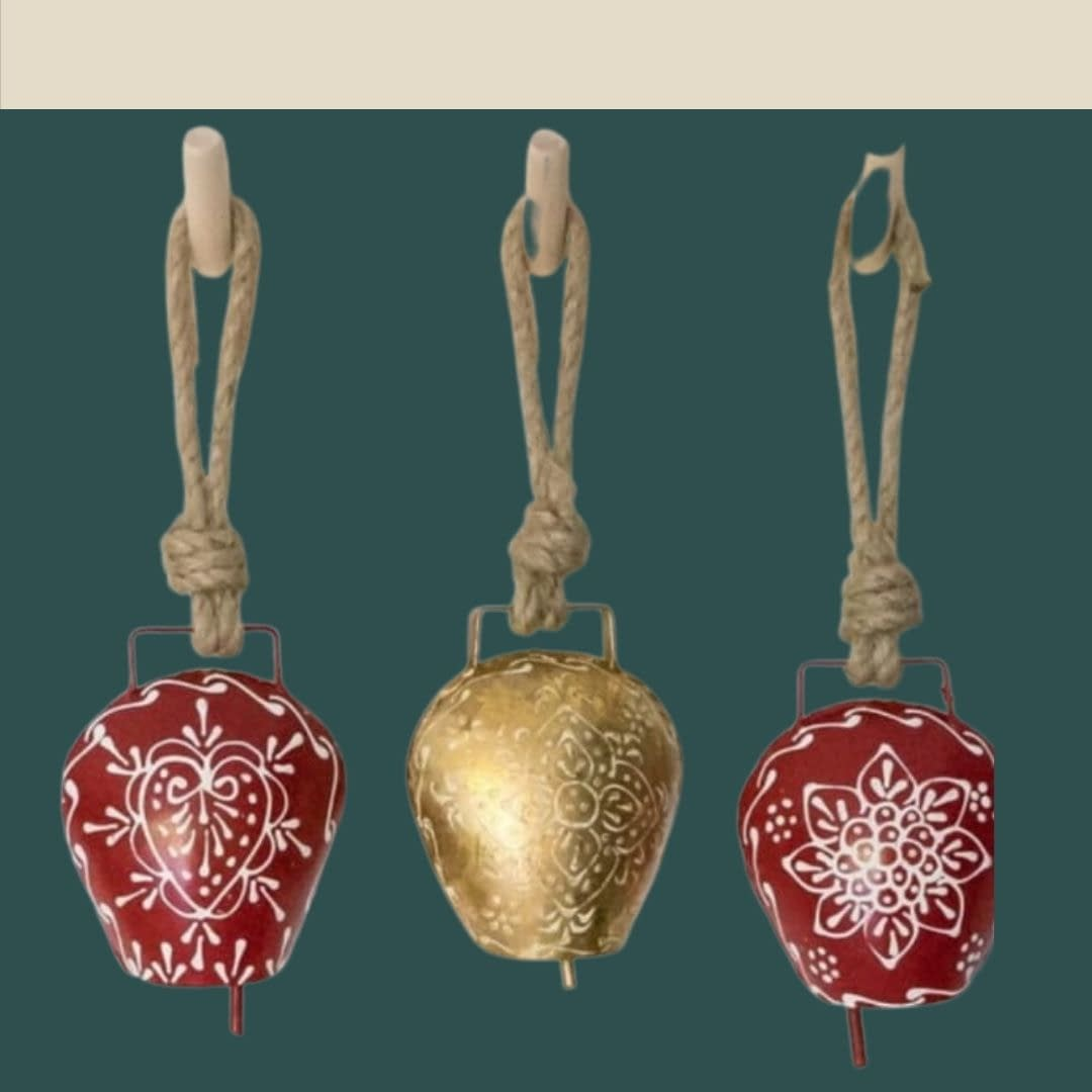 Handmade Golden & Red Bells (Set of 3) 4