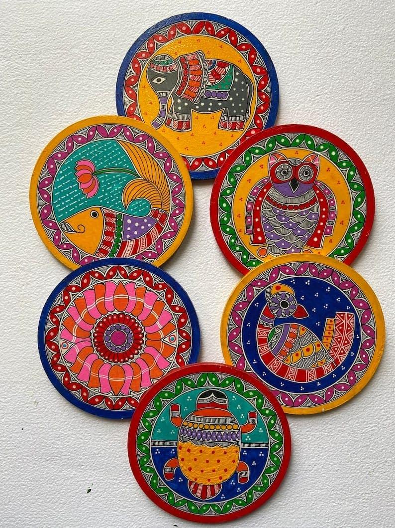 Handmade Madhubani coasters 3