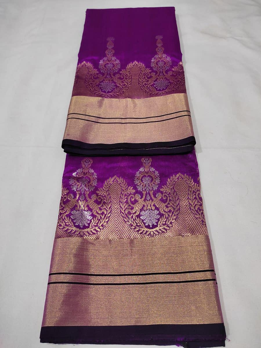 Handmade Chanderi kataan silk saree, with nakshi border 4