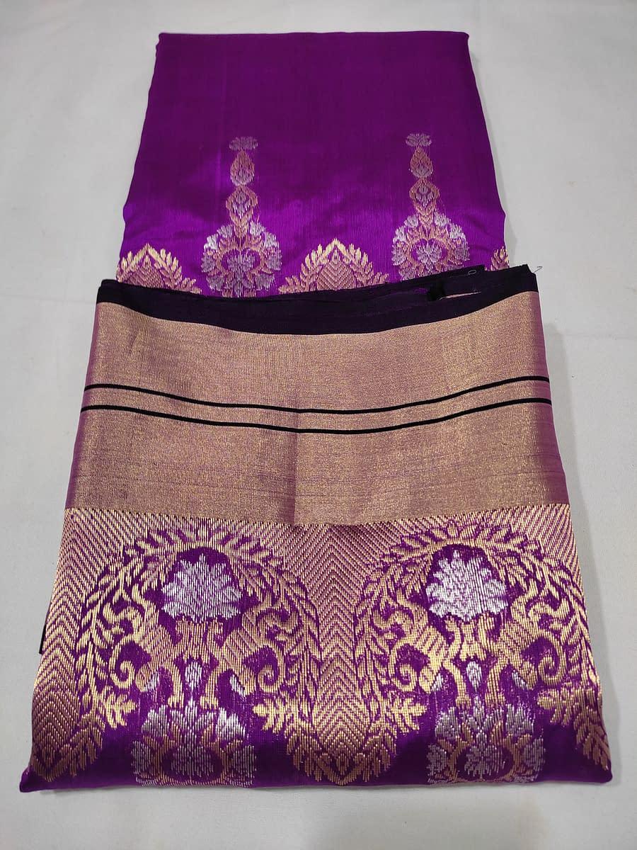 Handmade Chanderi kataan silk saree, with nakshi border 5