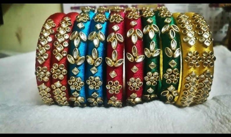 Handmade Silk thread Bangles. 3