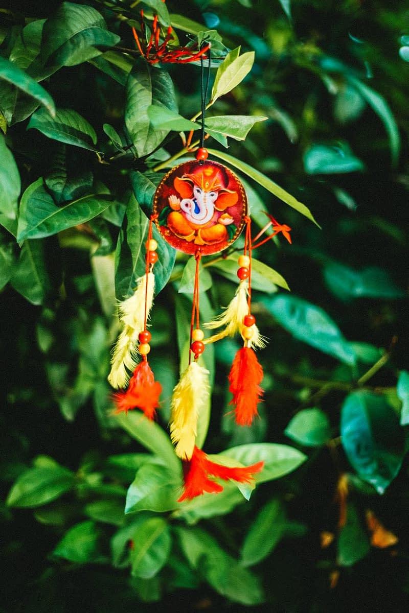 Handmade Ganesha Orange dream Catcher 3