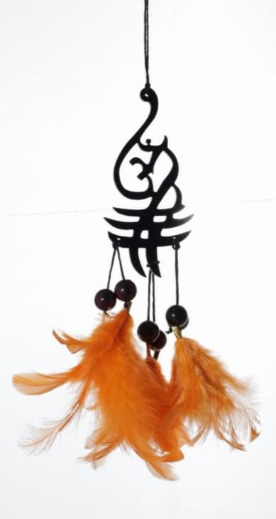 Handmade Aum Symbol Orange Feather Dream catcher 4