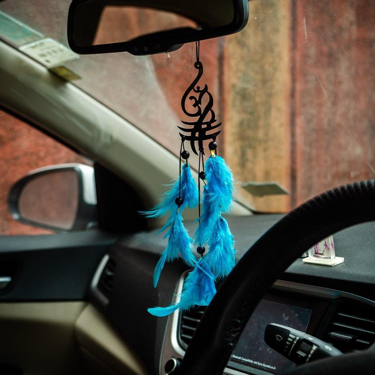 Handmade Aum Symbol Blue Feather Dream catcher 5