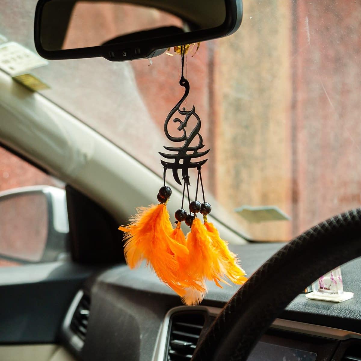 Handmade Aum Symbol Orange Feather Dream catcher 5
