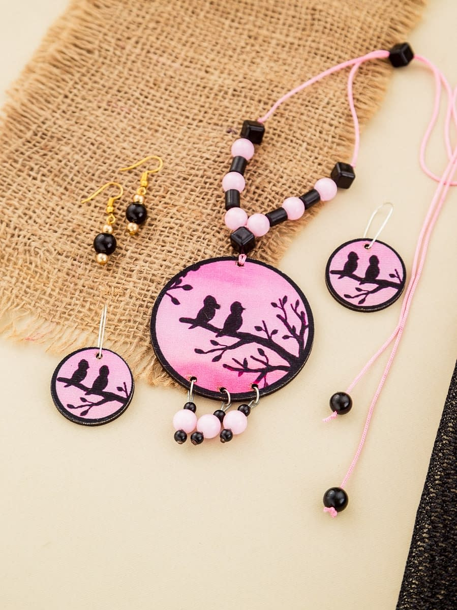 Handmade Pink black Wood & Pearl Necklace set 3
