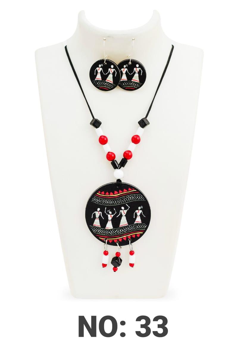 Handmade Dandiya Wood & Pearl necklace & Earrings 4