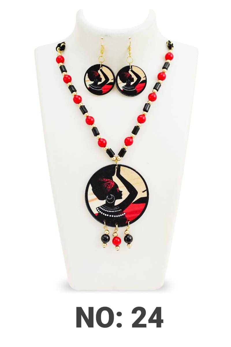 Handmade Shaman Wood & Pearl Necklace set 4