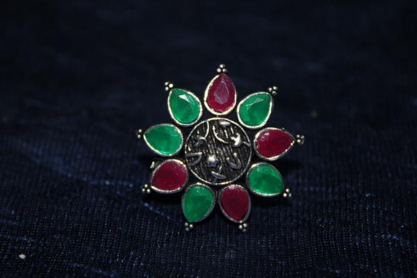 Handmade Stone Ring- Green & Pink