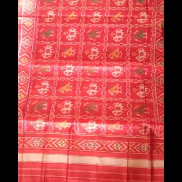 Handmade Red-Yellow Patan handwoven patola silk dupatta