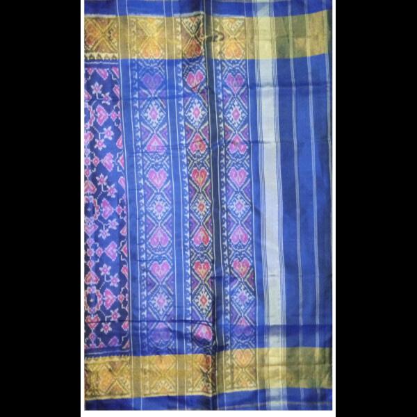 Handmade Handwoven Patan Patola Silk Saree blue with golden border